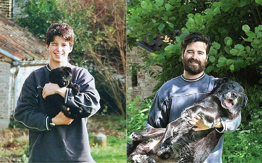 Mężczyzna po 15 latach odtworzył zdjęcie ze swoim ukochanym psem