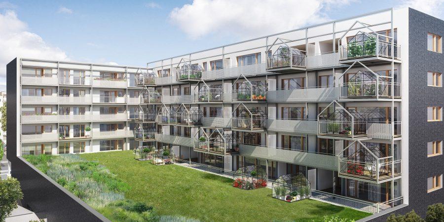Dom ze szklarniami na balkonach