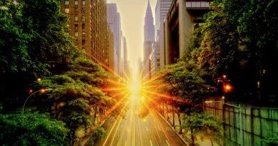 Zjawisko Manhattanhenge na nowojorskim niebie